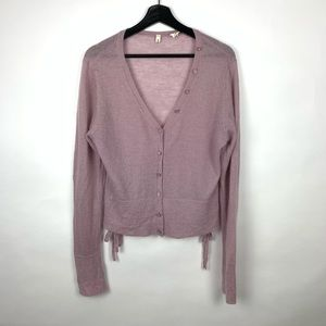 Moth Wool Kid Mohair Button Front Cardigan Jewel L
